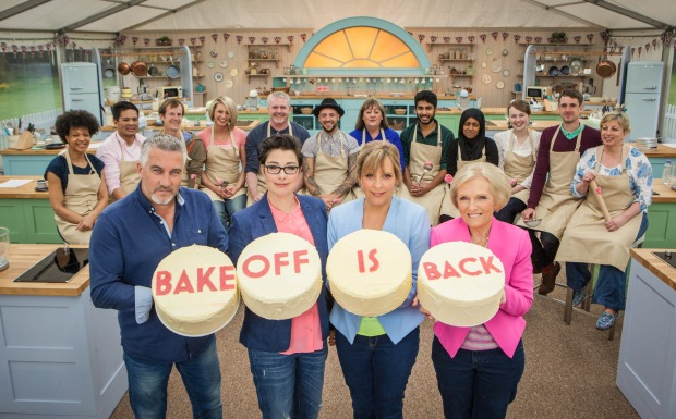 WARNING: Embargoed for publication until 28/07/2015 - Programme Name: The Great British Bake Off - TX: n/a - Episode: n/a (No. 1) - Picture Shows: +++Publication of this image is strictly embargoed until 00.01 hours Tuesday July 28th 2015+++ Paul Hollywood, Sue Perkins, Mel Giedroyc, Mary Berry, The Great British Bake Off contestants - (C) Love Productions - Photographer: Mark Bourdillon